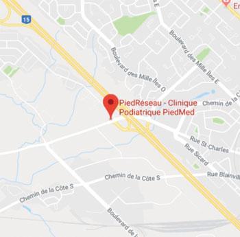 Podiatre à Boisbriand - Google map